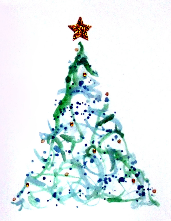 Hand-made Christmas card with Christmas tree and gold star.